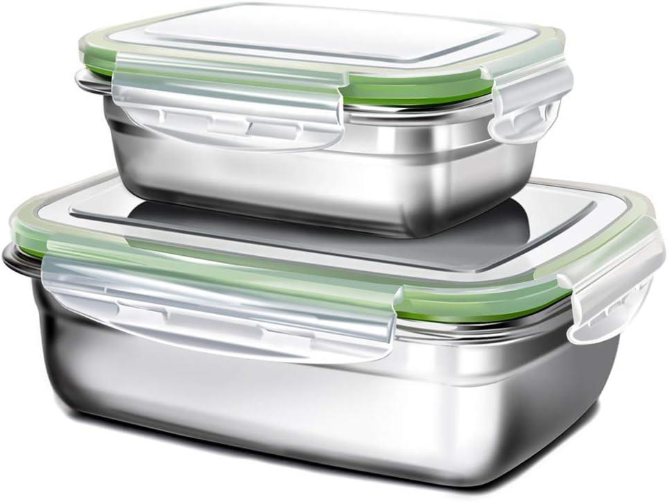 GA Homefavor Fiambreras Caja de Almuerzo de Acero Inoxidable para Alimentos Ensalada de Frutas Recipiente (Conjunto de 2)