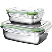 G.a HOMEFAVOR Lunch Box, Stainless Steel Bento Lunch Box Set, 2-Piece Food Fruit Salad Container for Kids & Adults (Single Layer, Green)