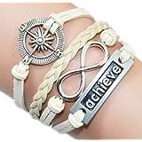 Bracelet Vintage Sideway tressé en cuir et coton, ancre marine et barre - Beige Clair
