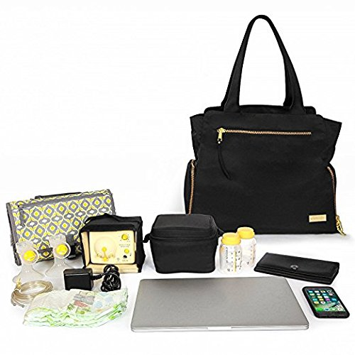 The New Yorker Breast Pump Bag by Charlie G, Black/Gold (Large) by Charlie G Bags (Image #8)
