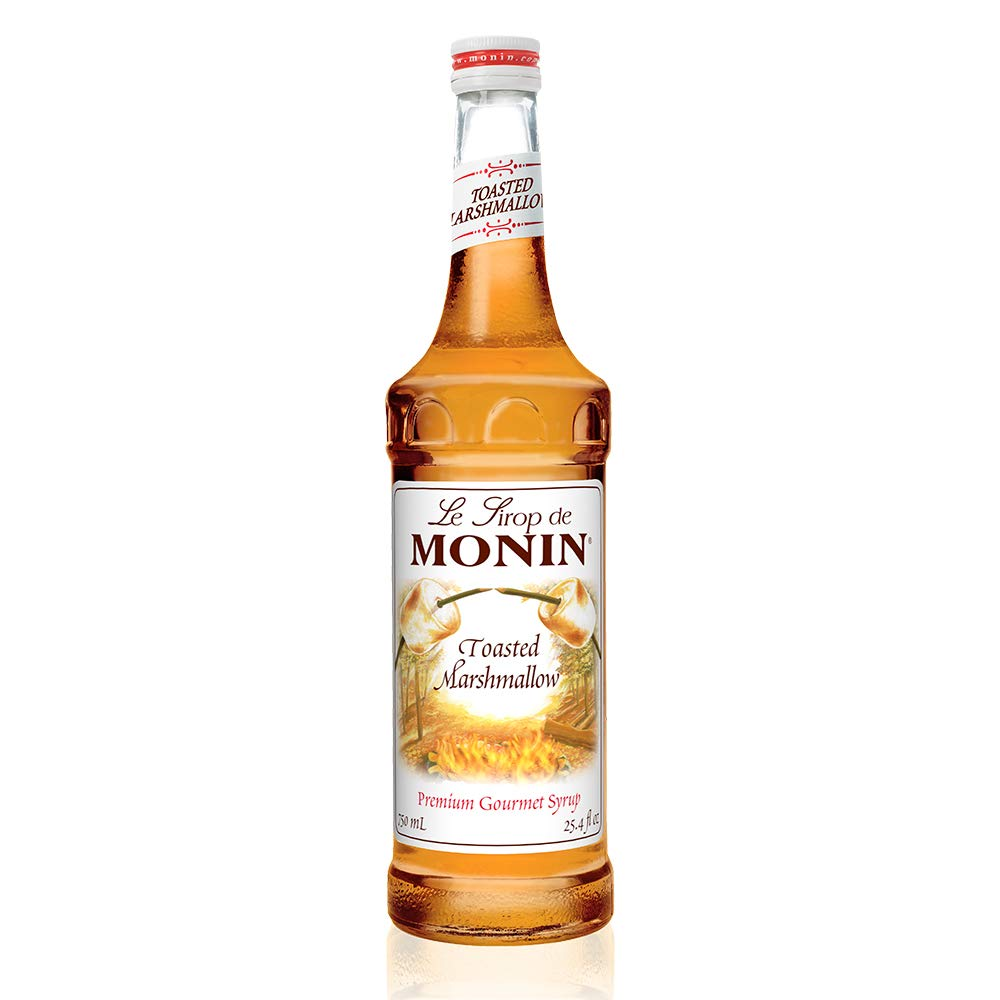 Monin - Toasted Marshmallow Syrup, Flavor of Campfire Treats, Natural Flavors, Great for Mochas, Shakes, Cocoas and Cocktails, Vegan, Non-GMO, Gluten-Free (25.4 Fl Oz)