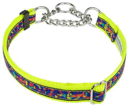 Multi-Colored Bones Woven Ribbon on Hot Yellow Half Check Dog Collar Limited Edition-L