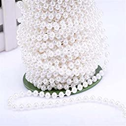25M 6mm ABS Pearl Beaded Garland Spool Beads Wedding Favors Party Centerpiece Christmas DIY Decor Crafts White