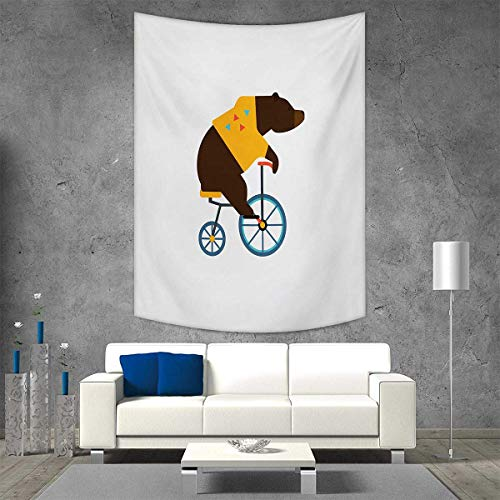 smallbeefly Bicycle Vertical Version Tapestry Big Teddy Bear Icon of Circus Riding Bicycle with Hipster Costume Animal Image Throw, Bed, Tapestry, or Yoga Blanket 70W x 93L INCH Brown Yellow