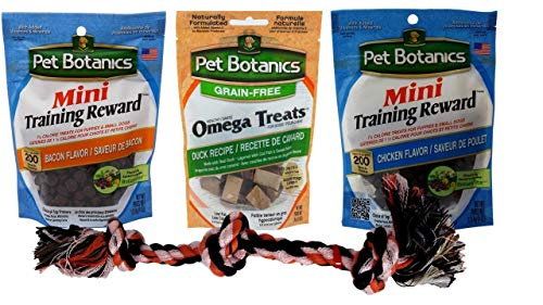 - Pet Botanics Omega and Mini Training Treats 3 Flavor Variety with Toy Bundle, 1 Each: Chicken, Bacon, Duck (3-4 Ounces)