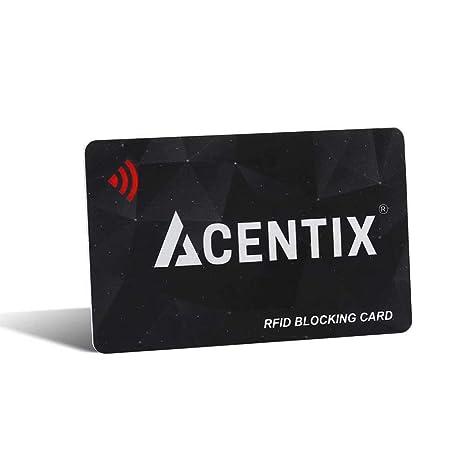 ACENTIX tarjetas de bloqueo RFID / NFC, Protección de tarjeta de crédito / débito para su cartera o bolso | No se requieren baterías, sin mangas ...