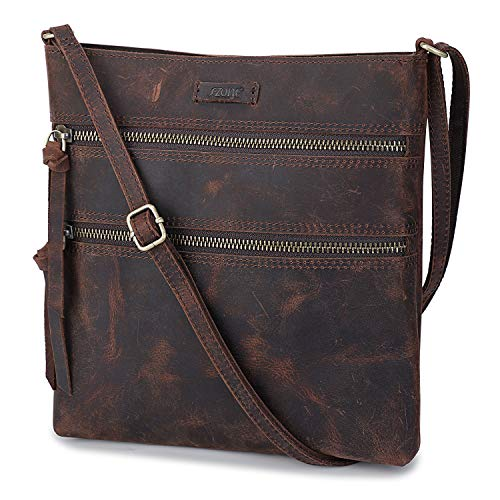 S-ZONE Vintage Genuine Crazy Horse Leather Small Crossbody Bags for Women Slim Shoulder Purse (Dark -