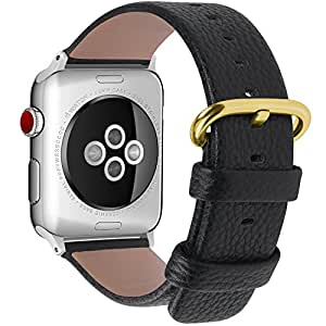 22 Colors for Apple Watch Bands 38mm and 42mm, Fullmosa Yan Calf Leather Replacement Band/Strap for Apple Watch Series 3, iWatch Series 3, Series 2, Series 1, Sport 2015 2016 2017, 42mm Black-SL-GD