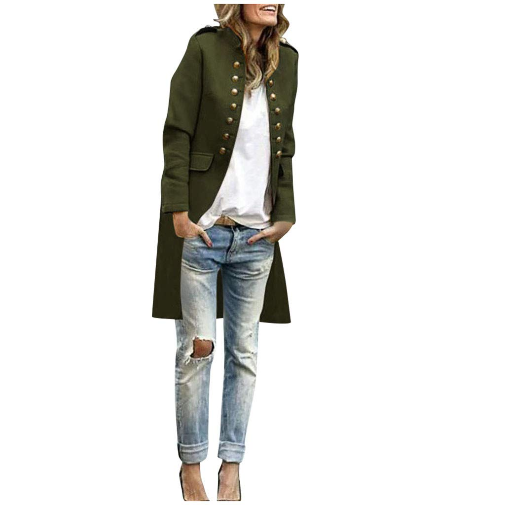 SHUSUEN Women Elegant Long Coat Button Down Cardigan Tops Formal Business Outwear Army Green by SHUSUEN