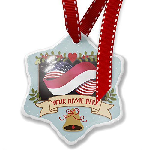 Add Your Own Custom Name, Friendship Flags USA and Indonesia Christmas Ornament NEONBLOND by NEONBLOND