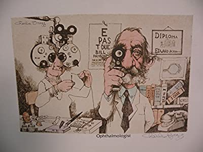 """Art print Charles Bragg Color Lithograph """"OPHTHALMOLOGIST"""" Hand Signed new"""