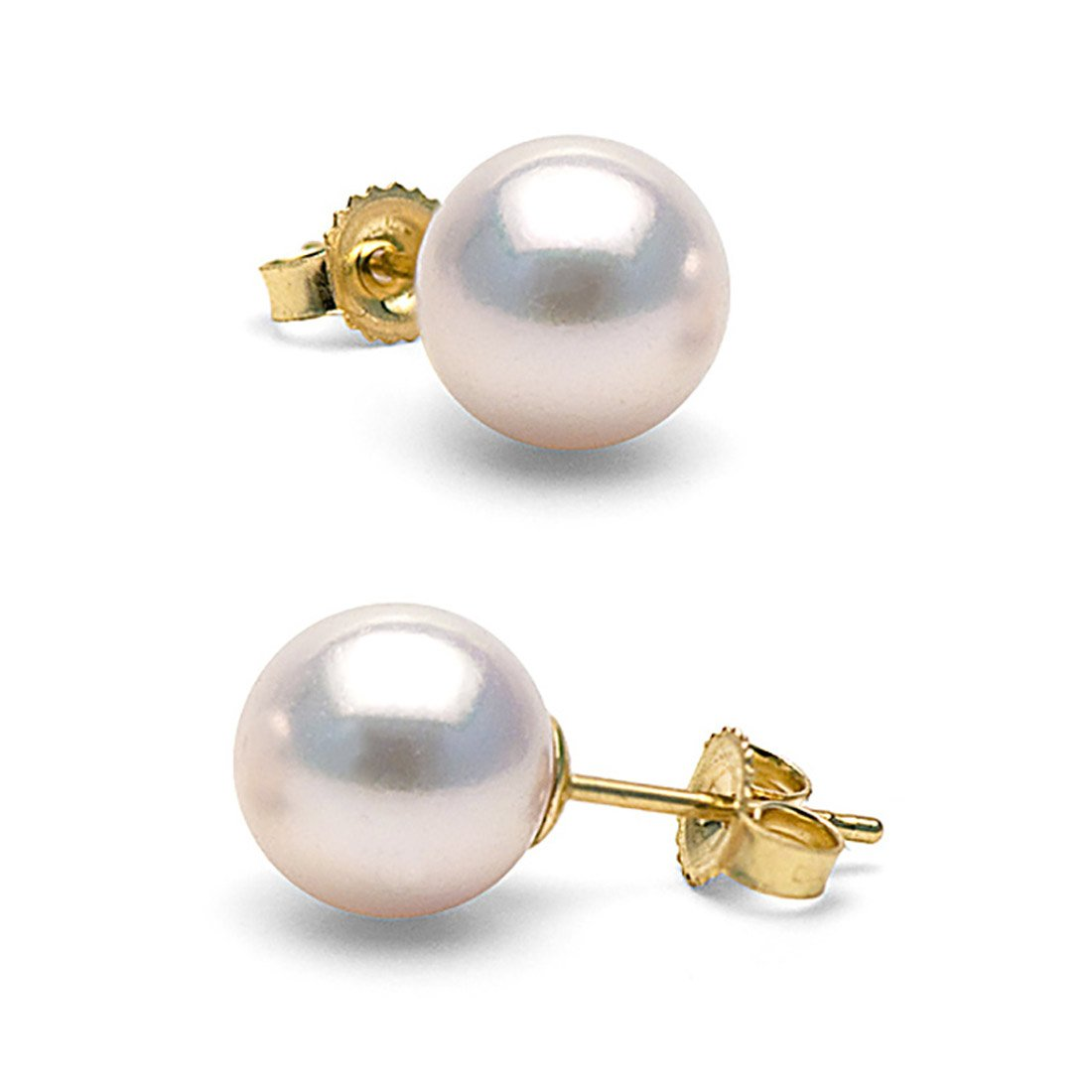 14K Cultured White Japanese Akoya Pearl Stud Earrings, AAA Quality (yellow-gold, 8.5-9.0mm)
