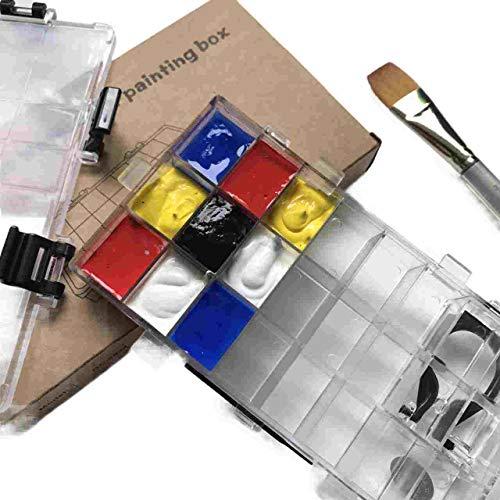 Paints Palette Box- 24 Wells Sealed Paints Containter for Watercolor Half Pans, Acrylic,Gouache, Depotting Lipsticks- Travel -
