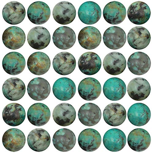 Natural Stone Beads 100pcs 10mm African Turquoise Round Genuine Real Stone Beading Loose Gemstone Hole Size 1mm DIY Smooth Beads for Bracelet Necklace Earrings Jewelry Making (African Turquoise, 10mm) - Genuine Turquoise Stone Jewelry