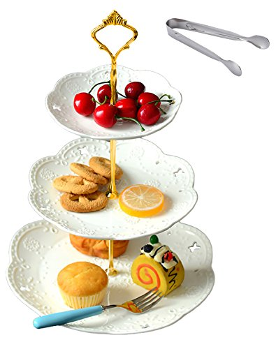Jusalpha 3-tier White Ceramic Cake Stand-cupcake Stand- Dessert Stand-tea Party Serving Platter, Comes In a Gift Box- Free Sugar Tong (Gold/White, 1 Set)