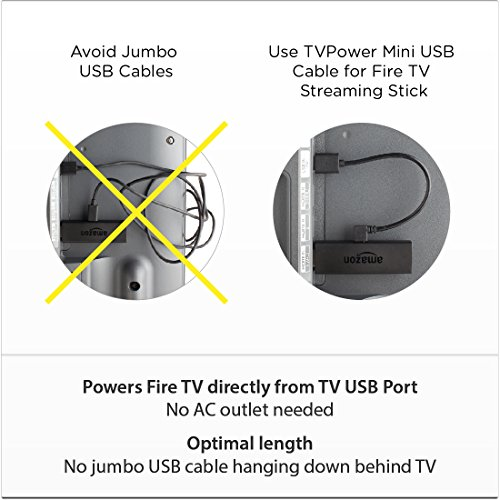 tvpower mini 1a usb power cable for powring fire tv stick. Black Bedroom Furniture Sets. Home Design Ideas