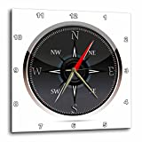 3dRose black and Gray Compass – Wall Clock, 13 by 13-Inch (dpp_111554_2)