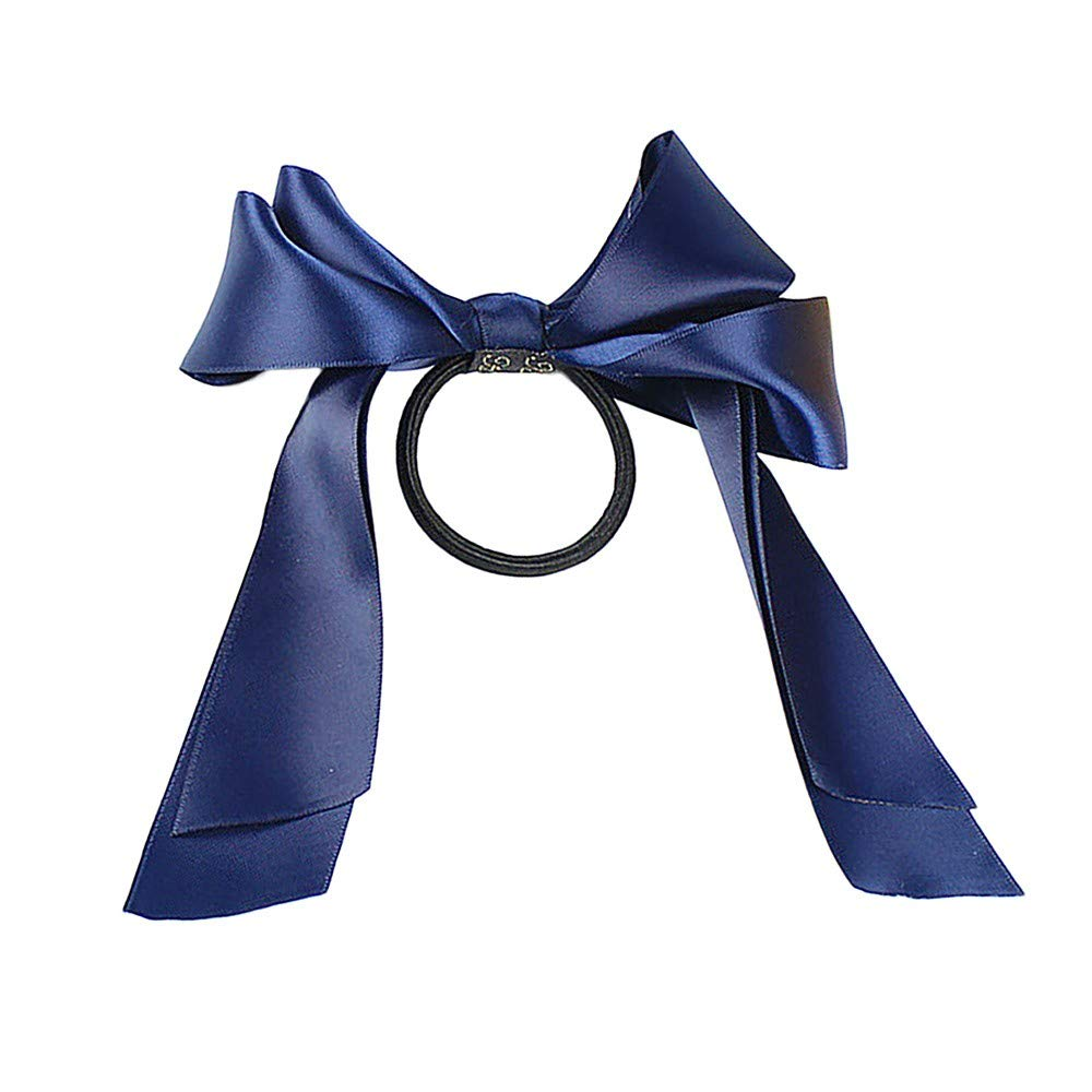 Gessppo Women Ribbon Bow Headband Rope Satin Ponytail Holder Hair Band Accessory Guesthome