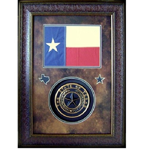 (Framed Texas Flag w State Seal With Protective Glass)