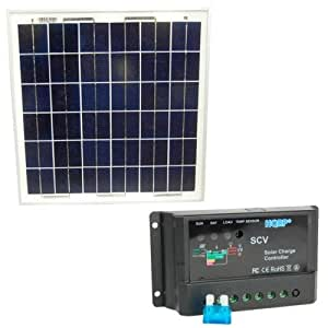 HQRP Solar Kit: 15W Solar Panel 15 Watt 12 Volt plus 10A Solar Battery Charge Controller / Regulator 12V / 24V 10 Amp