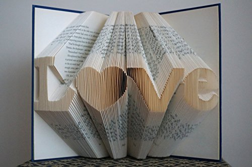 Folded Book Art -Stunning Word Pattern Folded Book Art -LOVE Pattern - Paper Anniversary Gift for Him or Her - Date - Unique Birthday Gift - Wedding Decoration - 6 - Valentines Good Ideas Date Day
