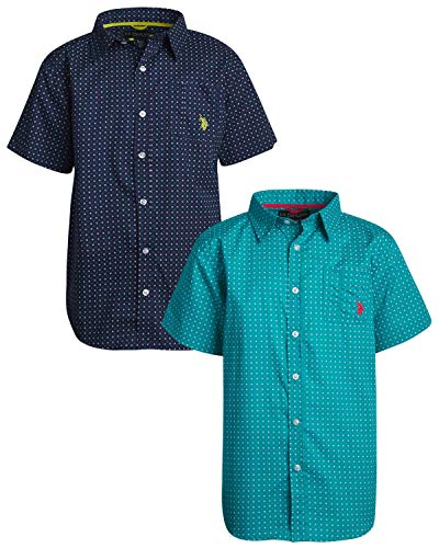 U.S. Polo Assn. Boys Short Sleeve Woven Shirt (2 Pack), Green/Navy Dots, Size 18'