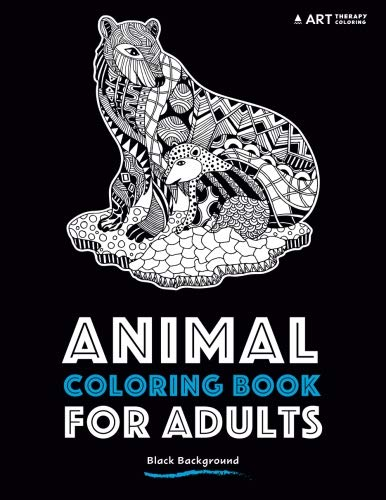 Download Animal Coloring Book For Adults: Black Background PDF