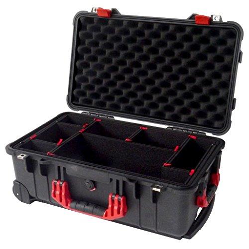 - Black & Red Pelican 1510 case, with TrekPak Divider System.