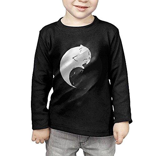 Kitten Long Sleeved T-shirt - Yin Yang Kittens Child Cotton T-Shirts Cartoon Long-Sleeved Sportwear