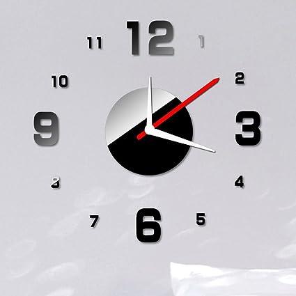 Lilia Simple estéreo reloj de acrílico Espejo Reloj de pared DIY Reloj Digital adhesivo decorativo para