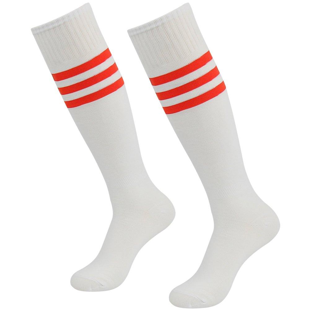 J'colour Football Socks, Unisex Knee High Soccer Tube Socks Baseball Compression Socks 2 Pairs White&Red Stripe by J'colour