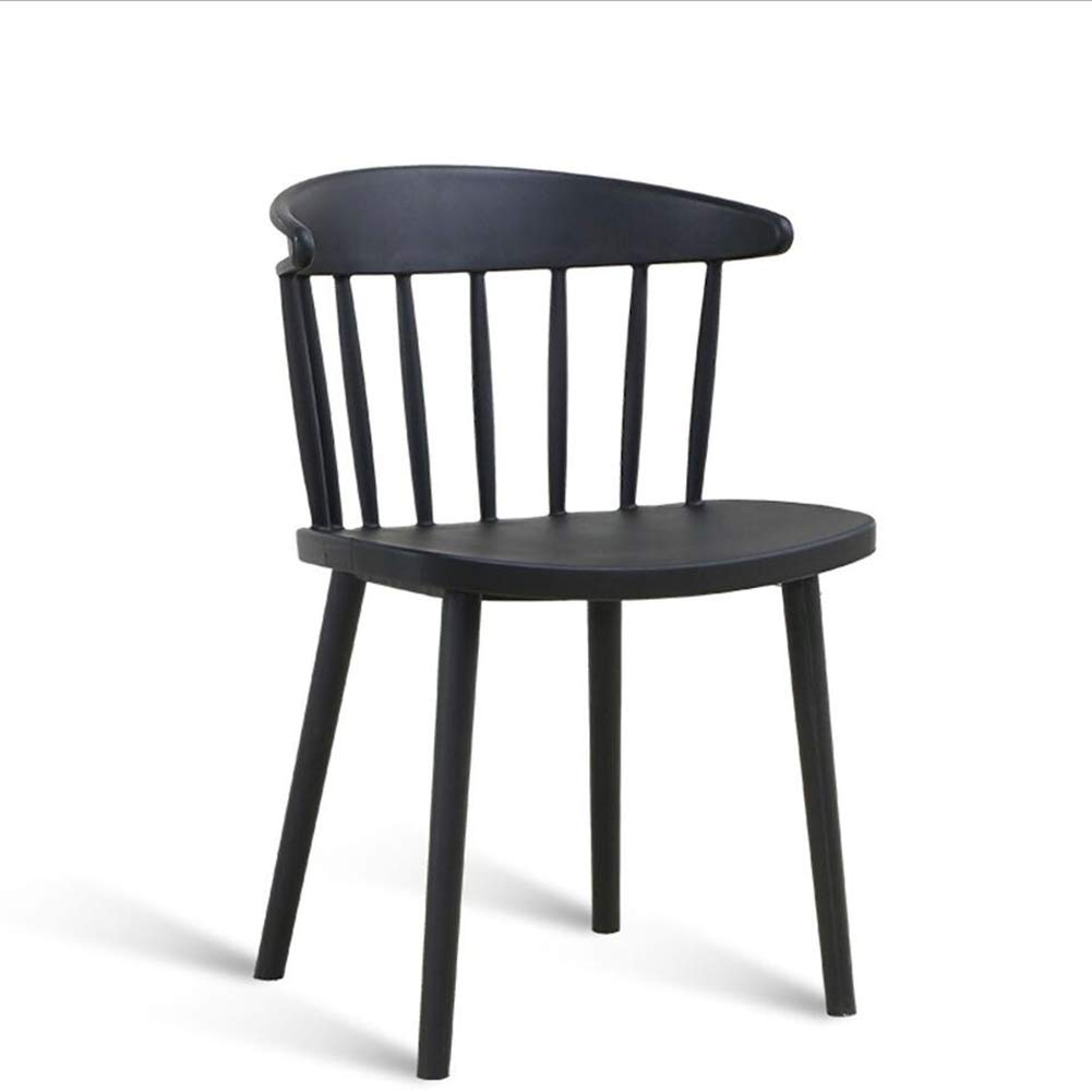 BLACK Dining Chairs Seat Chair Backrest Harp Casual Negotiate Office Coffee Plastic American FENPING (color   Pink)