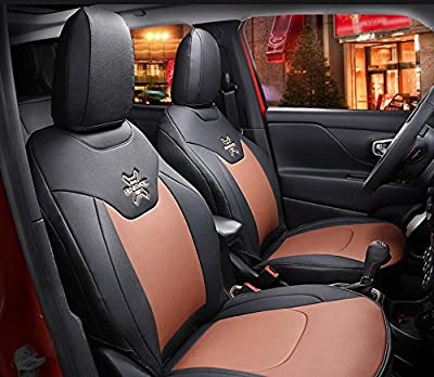 Nicebee 2pcs Front Seat Cover + 1pcs Back Seat Cover + 2pcs waist pillows + 2pcs neck pillows Leather Car Seat Cover for Jeep Renegade 2016?Brown?