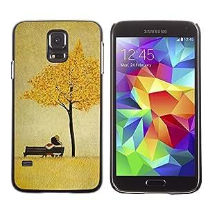 FECELL CITY // Duro Aluminio Pegatina PC Caso decorativo Funda Carcasa de Protección para Samsung Galaxy S5 SM-G900 // Leaves Golden Brown Love Couple