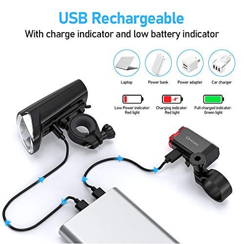 OneAmg LED Fahrradlicht Set, LED Fahrradbeleuchtung StVZO Zugelassen USB Fahrradlampe Wiederaufladbare Frontlicht und Rücklicht Set, 3 Licht-Modi, Fahrradlichter für Mountainbike und Camping