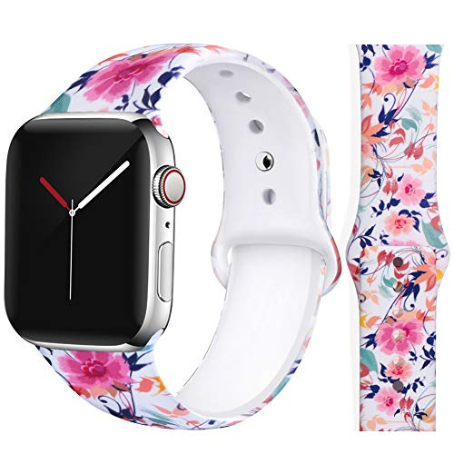 (EXCHAR Compatible with Apple Watch Band 40mm 38mm Women Floral Replacement Bands for iWatch Series 4, Series 3, Durable Prints, Soft Comfortable Silicone S/M)