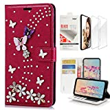STENES Bling Wallet Case Compatible with iPhone 7 / iPhone 8, 3D Handmade S-Link Butterfly Floral Design Leather Case with Wrist Strap & Screen Protector [2 Pack] - Red