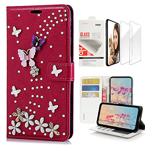 STENES Bling Wallet Case Compatible with LG G8 ThinQ (2019 Release) - Stylish - 3D Handmade S-Link Butterfly Floral Design Leather Case with Wrist Strap & Screen Protector [2 Pack] - Red ()