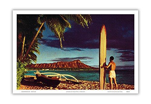 Head Postcard (Surfer, Outrigger Canoe and Diamond Head Crater - Honolulu, Hawai'i - Vintage Hawaiian Kodachrome Postcard by Stewart Fern c.1951 - Hawaiian Master Art Print - 12 x 18in)