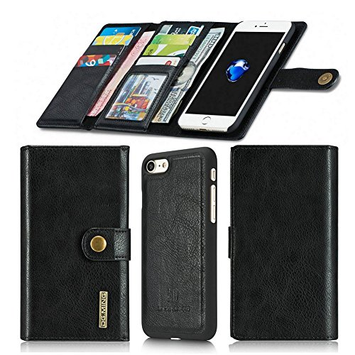 Aiwe iPhone 7 Wallet Case | iPhone 8 Wallet Case - [14 Slots] Magnetic Detachable Slim Casewith Card Holder iPhone7 iPhone8 (4.7 inch) Stand Luxury Leather Flip Case for Men Women (Black)