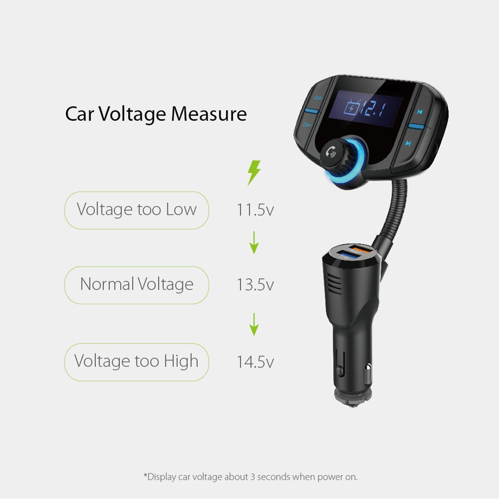 """Bluetooth FM Transmitter with Quick Charge 3.0, Wireless Car Radio Transmitter Kit with 1.7"""" LED Display, Dual USB Ports, compatible with iPhone, Samsung, etc, Hands Free Kit by Talent Star (Image #2)"""