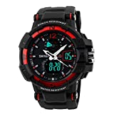 Takyae 2017 Fashion Multi Function Waterproof Digital Watch LCD Alarm Date Mens LED Military Sport Wrist Watches Red