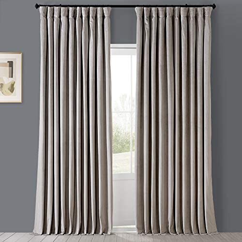 HPD Half Price Drapes VPCH-VET160405-120 Signature Extra Wide Blackout Velvet Curtain 1 Panel