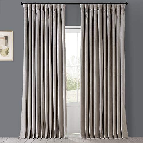 HPD Half Price Drapes VPCH-VET160405-120 Signature Extra Wide Blackout Velvet Curtain 1 Panel
