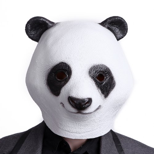 HDE Creepy Funny Animal Head Mask Latex Rubber Halloween Costume Accessory (Panda)