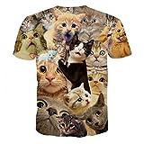 Clearance! Kstare Men's 3D Print Kitty Cat Slim Short-Sleeved Tops Blouse Casual T Shirt Tee (XL)