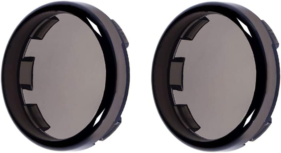 PBYMT 2 Bullet Smoke Turn Signal Light Lens Cover Caps Compatible for Harley Softail Sportster Touring Street Glide Road King 1997-2020 2pcs