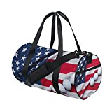 Naanle Golf Ball With American Flag Patriotic Usa Gym bag Sports Travel Duffle Bags for Men Women Boys Girls Kids