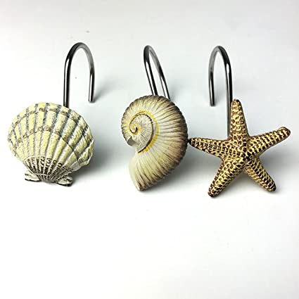 Image Unavailable Not Available For Color TGBack Sea Shell Shower Curtain Hooks