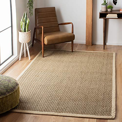Natural Shag Rug - Safavieh Natural Fiber Collection NF114J Basketweave Natural and Ivory Summer Seagrass Area Rug (5' x 8')